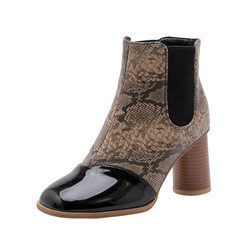 Shoespie Trendy Round Toe Chunky Heel Slip-On Casual Boots