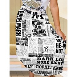 Asymmetric Letter Ankle-Length Western Women's Skirt