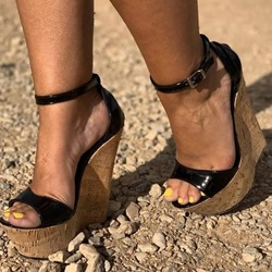Shoespie Black Wedge Heel Buckle Sandals