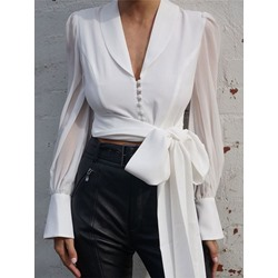 Plain Button Long Sleeve Women's Blouse