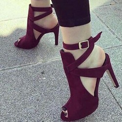 Shoespie Slingback Peep Toe Buckle Stiletto Heels