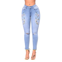 Floral Embroidery Pencil Pants Skinny Women's Jeans