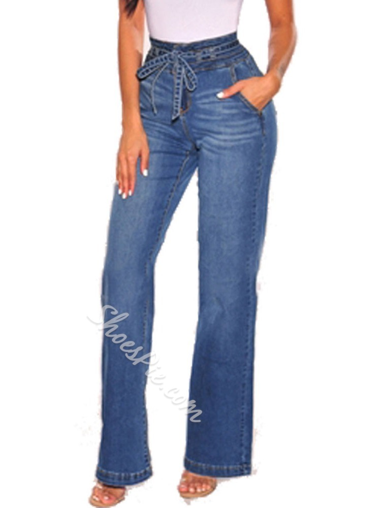 Lace-Up Straight Loose Women's Jeans