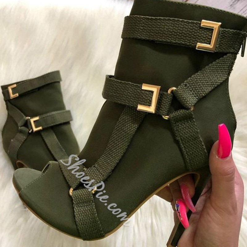Shoespie Back Zip Peep Toe Stiletto Heel Ankle Boots