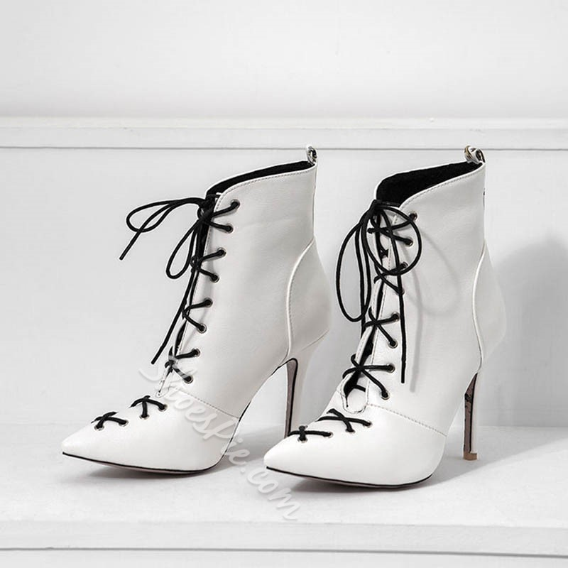 Shoespie Sexy Lace-Up Front Stiletto Heel Ankle Boots