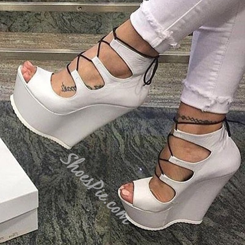 Shoespie White Lace-Up Hollow Peep Toe Wedge Heels