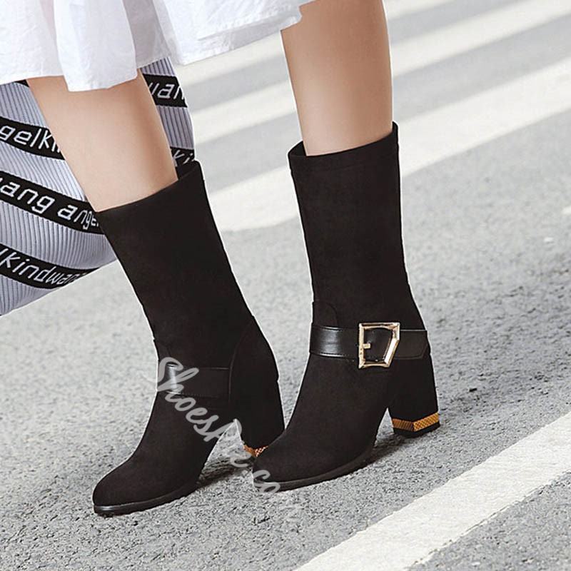 Shoespie Sexy Chunky Heel Round Toe Plain Short Floss Boots