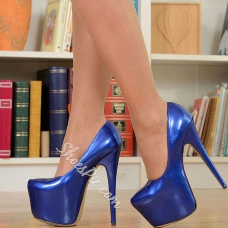 Shoespie Blue Platform Slip On Stiletto Heels