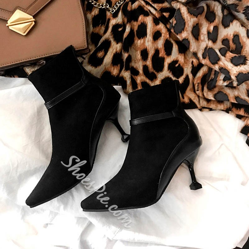 Shoespie Sexy Stiletto Heel Pointed Toe Back Zip Short Floss Boots