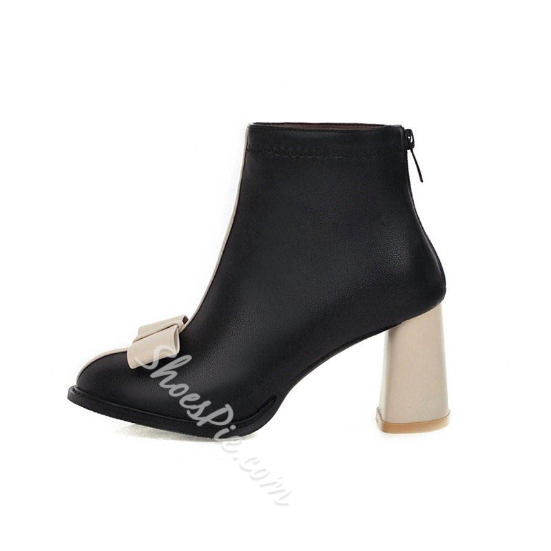 Shoespie Trendy Round Toe Patchwork Back Zip Casual Boots
