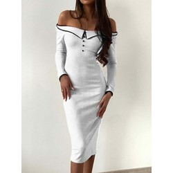 Off Shoulder Long Sleeve Button Cold Shoulder Women's Bodycon Dress