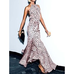 Print Floor-Length Sleeveless Pullover Women's Maxi Dress