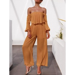 Plain Full Length See-Through High Waist Women's Jumpsuit