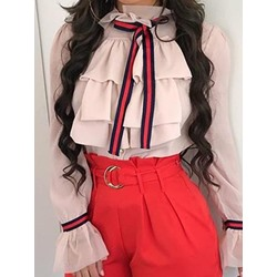 Bowknot Color Block Standard Women's Blouse