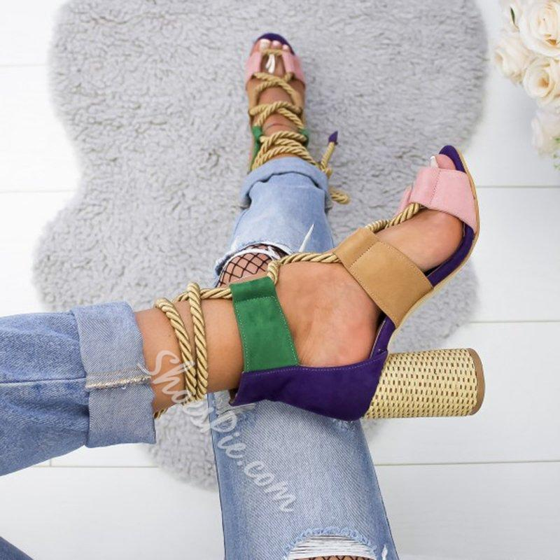 Shoespie Stylish Lace-Up Chunky Heel Sandals