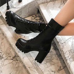 Shoespie Sexy Chunky Heel Round Toe Lace-Up Front Casual Boots