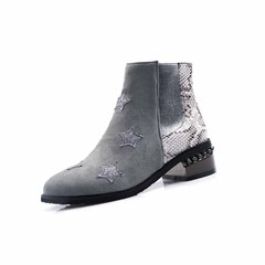 Shoespie Stylish Round Toe Star Side Zipper Casual Boots