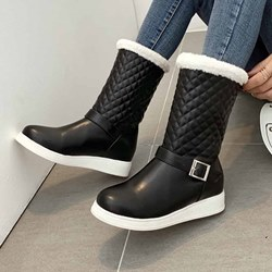 Shoespie Sexy Round Toe Slip-On Color Block Casual Boots