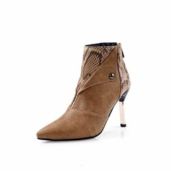 Shoespie Sexy Color Block Stiletto Heel Back Zip Casual Boots