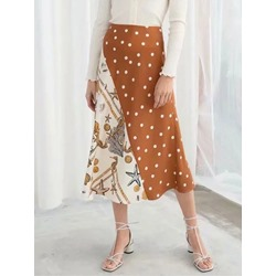 A-Line Color Block Print Elegant Women's Skirt