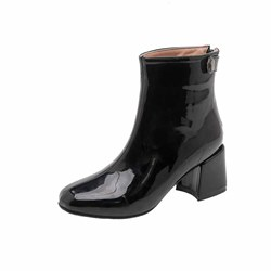 Shoespie Stylish Chunky Heel Plain Back Zip Thread Boots