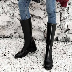 Shoespie Stylish Plain Round Toe Front Zipper Casual Boots