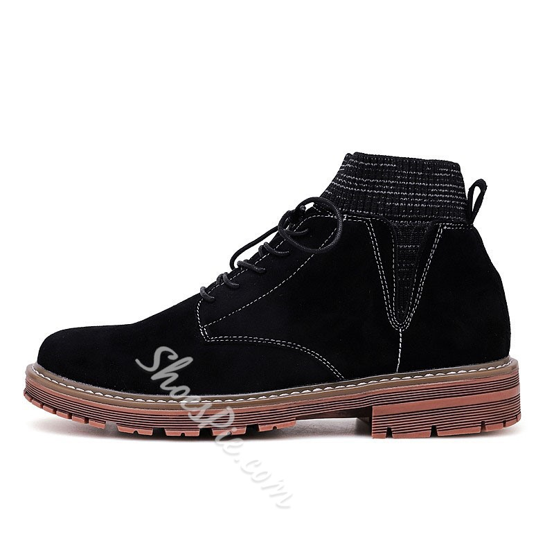 Shoespie Men's Round Toe Plain Lace-Up Front Leather Boots