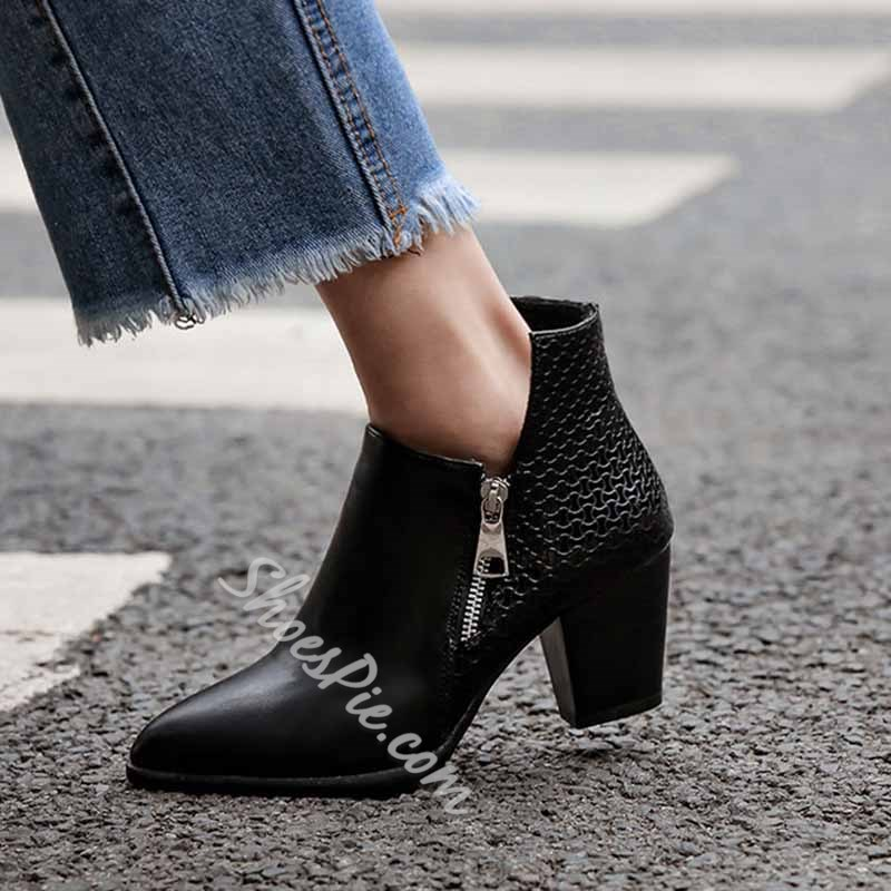 Shoespie Trendy Side Zipper Plain Chunky Heel Zipper Boots