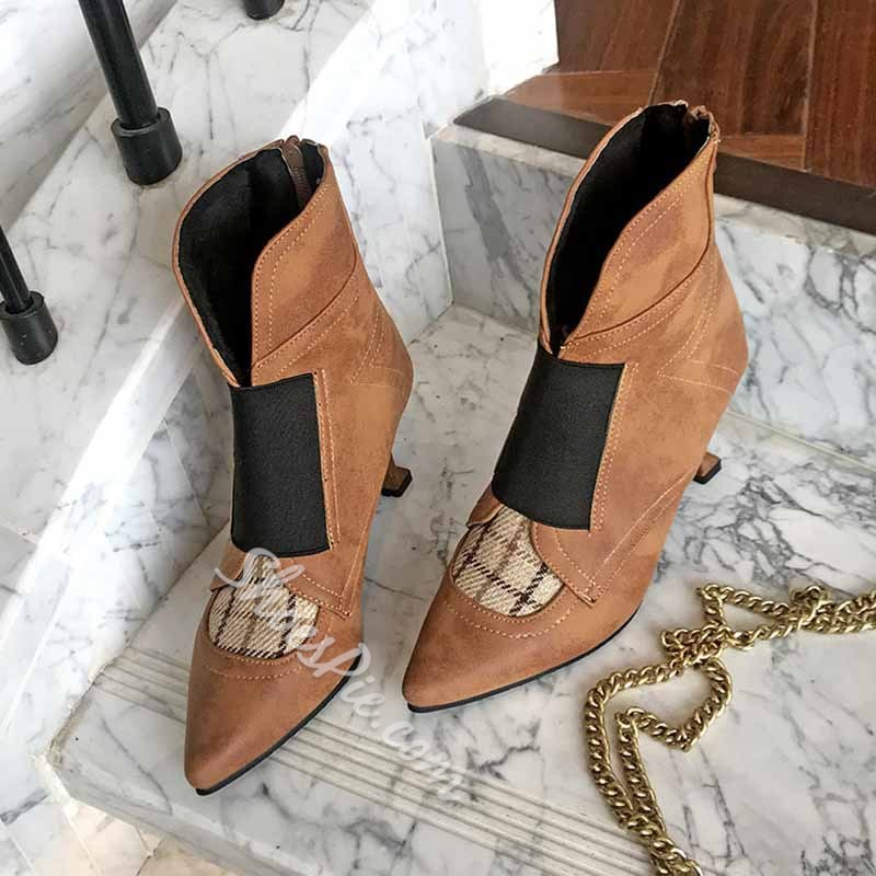 Shoespie Trendy Plaid Pointed Toe Chunky Heel Casual Boots