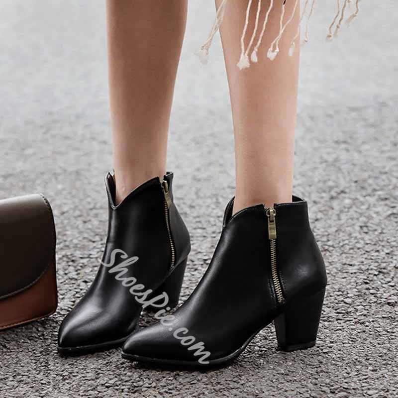 Shoespie Trendy Chunky Heel Plain Pointed Toe Casual Boots