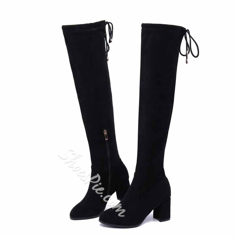 Shoespie Stylish Chunky Heel Pointed Toe Lace-Up Back Casual Boots
