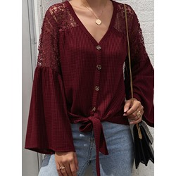 Hollow Flare Sleeve Single-Breasted Fall Women's Sweater