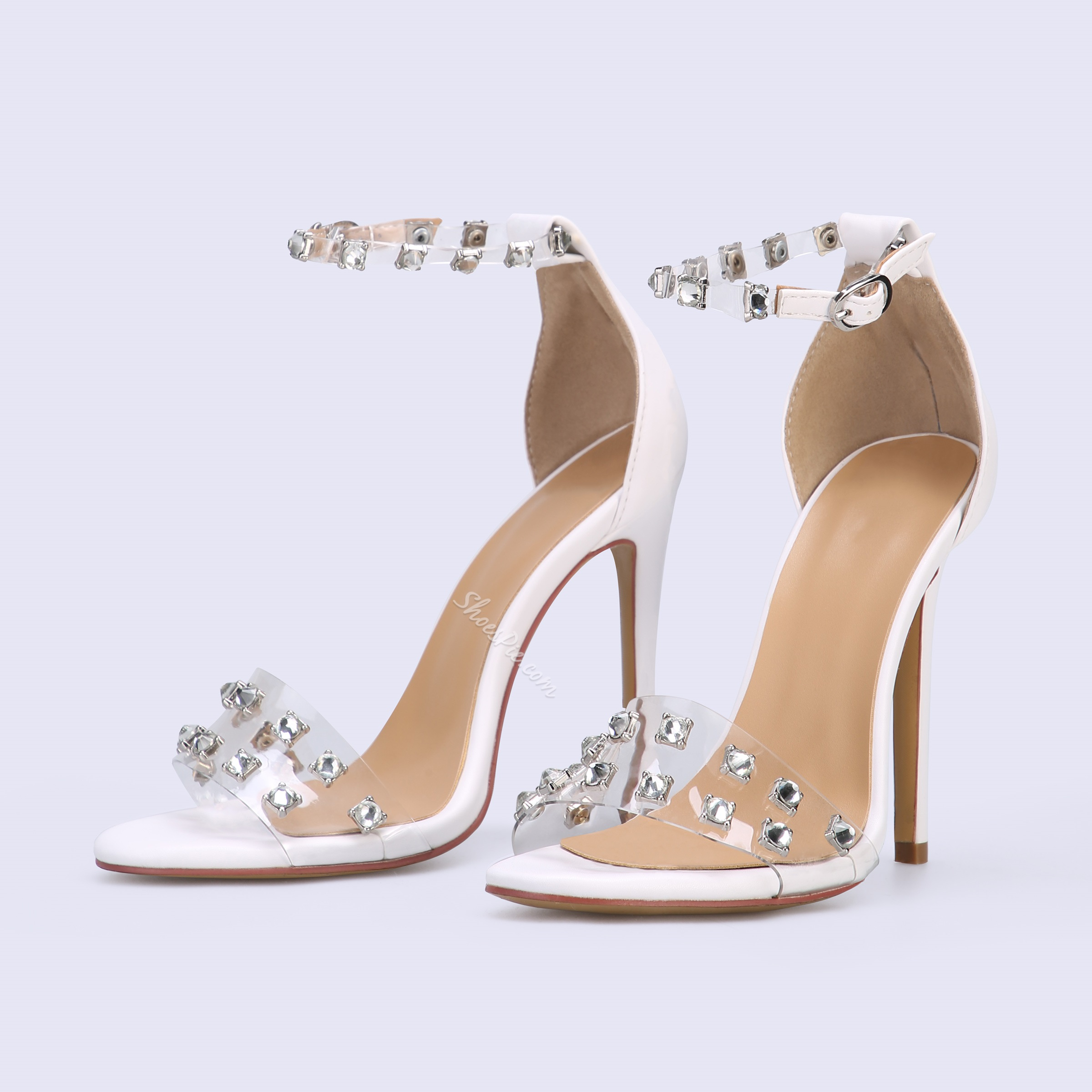 Shoespie White Rhinestone Jelly Sexy Stiletto Heel Clear Sandals