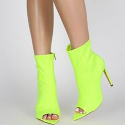 Shoespie Back Zip Stiletto Heel Peep Toe Neon Ankle Boots