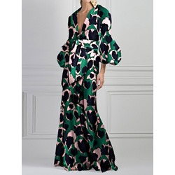 Floor-Length Print Three-Quarter Sleeve Women's Maxi Dress