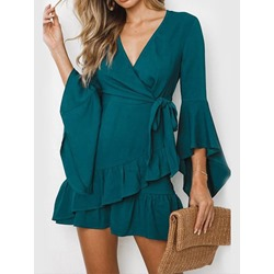 Long Sleeve V-Neck Above Knee Women's A-Line Dress