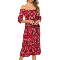 Off Shoulder Half Sleeve Ankle-Length Women's Maxi Dress