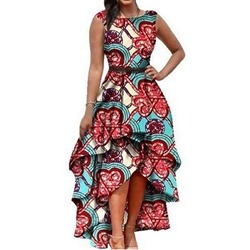 Print Ankle-Length Round Neck Geometric Women's Maxi Dress