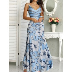 V-Neck Lace-Up Ankle-Length A-Line Women's Maxi Dress