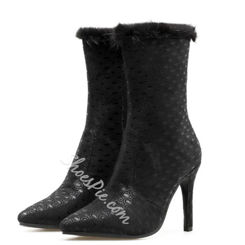 Shoespie Trendy Plain Stiletto Heel Pointed Toe Black Boots