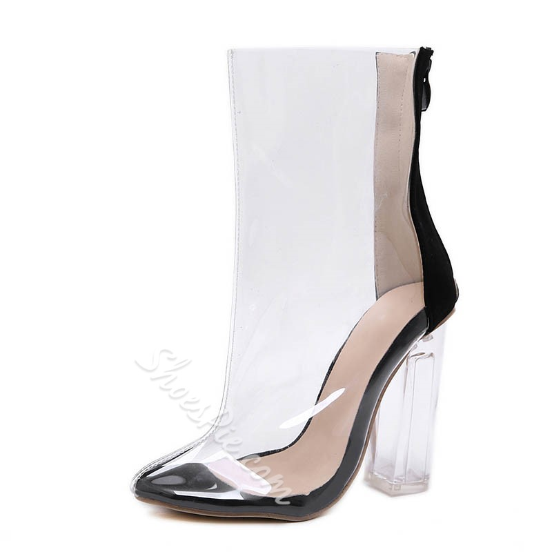 Shoespie Clear Zipper Chunky Heel Boots