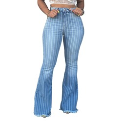 Bellbottoms Button Stripe Slim Women's Jeans