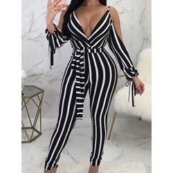 Western Print Stripe Pencil Pants Women's Jumpsuit