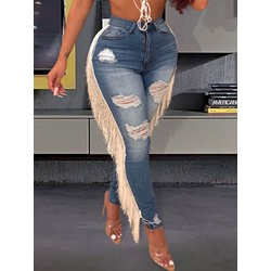 Hole Pencil Pants Zipper Tassel Women's Jeans