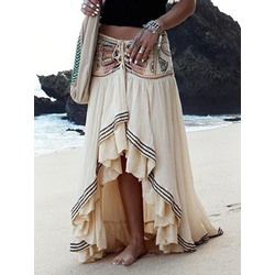 Asymmetrical Embroidery Floor-Length Western Women's Skirt