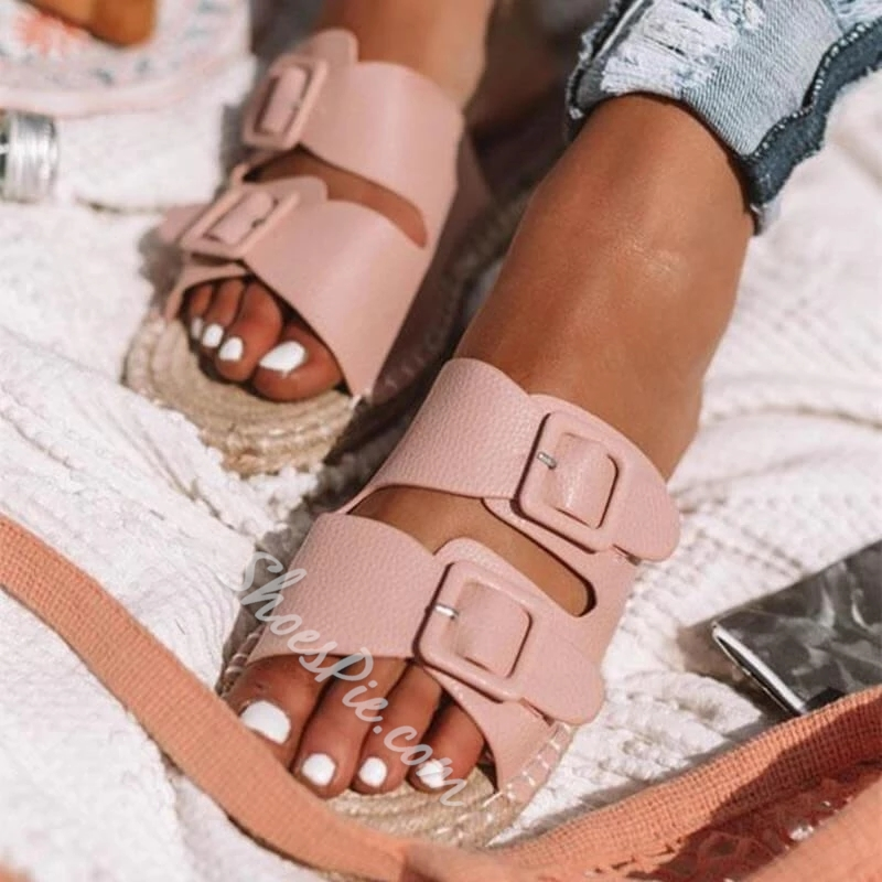 Shoespie Buckle Flat Casual Sandals