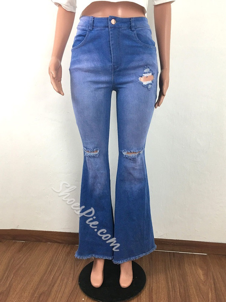 Zipper Bellbottoms Zipper Women's Jeans