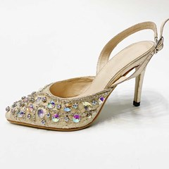 Shoespie Rhinestone Slingback Strap Pointed Toe Buckle Sandals