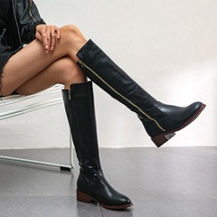 Shoespie Stylish Color Block Round Toe Chunky Heel Simple Boots