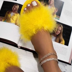 Shoespie Fluffy Flat Slip On Slippers
